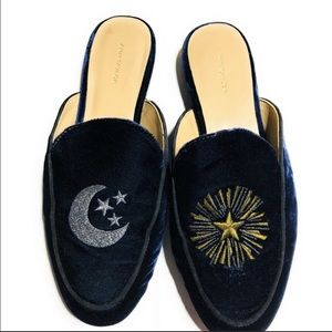 Ann Taylor Dark Blue Velvet Sun and Moon Slides